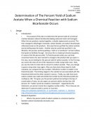 Determination of the Percent Yield of Sodium Acetate When a Chemical Reaction with Sodium Bicarbonate Occurs